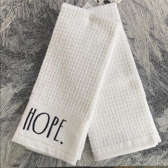 Rae Dunn Kitchen Towels Hope Faith (NWT)